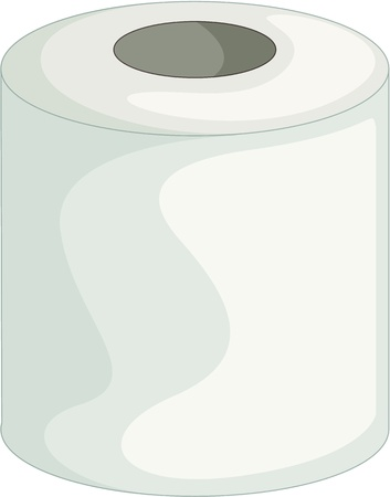 cleaning bathroom: illustration of toilet paper on white
