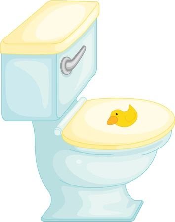 cartoon toilet: illustration of flush toilet on white Illustration