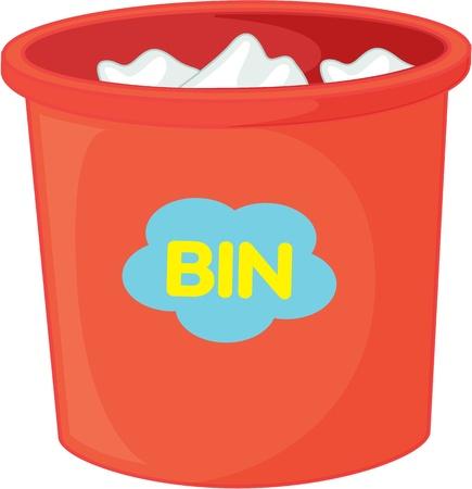 dustbin: illustration of dustbin on white Illustration