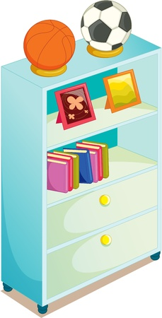 drawers: illustration of cupboard on white Illustration