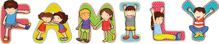 family picture: ilustraci�n de alfabetos en blanco