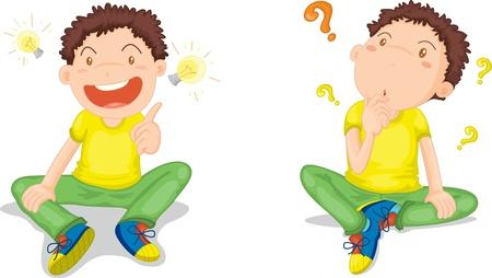 niños pensando: Ilustración de un dos muchachos en blanco