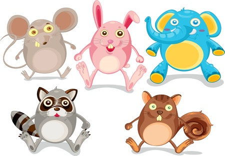 Illustration of  a cartoon animals on white Vector