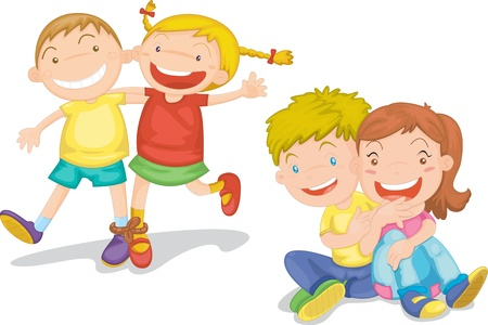 Illustration of  a kids on white Vector