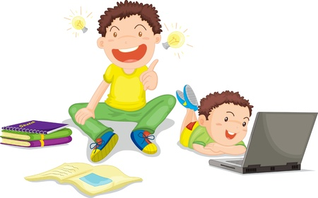 Illustration of  a two kids on white Vector