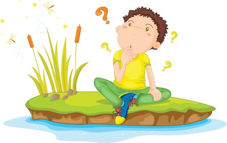 children pond: Illustration of  a boy on white