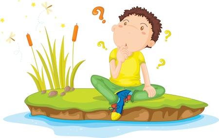 niños pensando: Ilustración de un niño en blanco Vectores