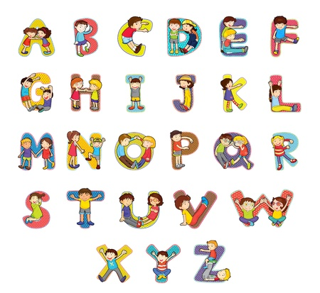 alphabet kids: Set of kid alphabet characters