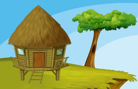 Illustration of hut on a hill Vector