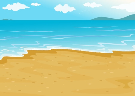 tropical beach on a white background Vector