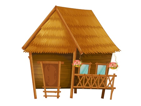 huts: Illustration of a wooden hut