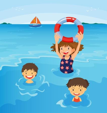 Niños bañándose en la playa de la ilustración