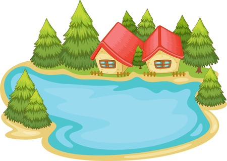 pond: Illustration of nature cabins on white