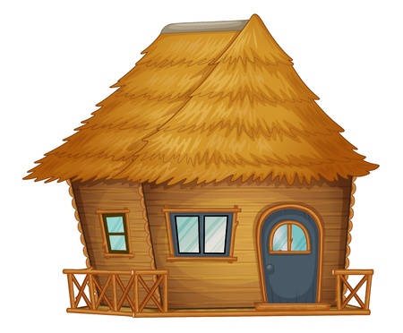 a straw: hut or cabin  on a white background
