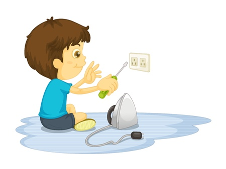 electrocution: Child illustration on a white background