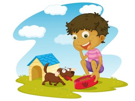 kid eat: Illustrazione Bambino su uno sfondo bianco