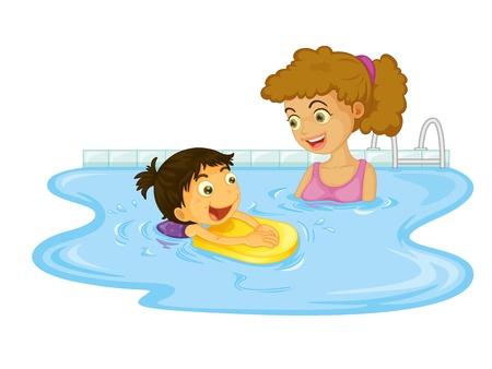 meisje zwemmen: Kind illustratie op een witte achtergrond Stock Illustratie