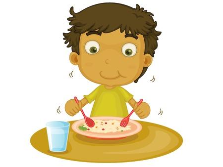 niños desayunando: Niño ilustración sobre un fondo blanco