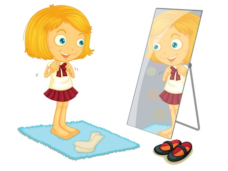 woman in mirror: Child illustration on a white background