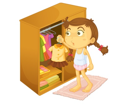 cupboard: Child illustration on a white background
