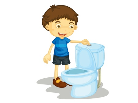 flush toilet: Child illustration on a white background