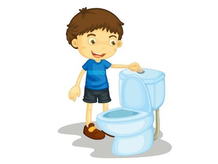 inodoro: Niño ilustración sobre un fondo blanco