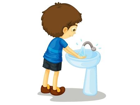 lavarse las manos: Ni�o ilustraci�n sobre un fondo blanco