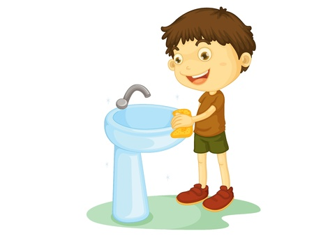 clean off: Child illustration on a white background