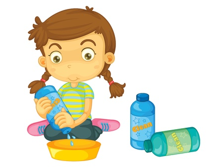 clean dishes: Child illustration on a white background
