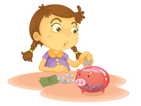 cartoon bank: Child illustration on a white background