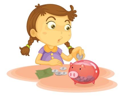 bolsa dinero: Niño ilustración sobre un fondo blanco
