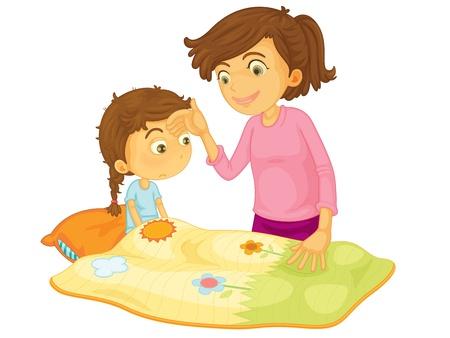 krankes kind: Kinder-Illustration auf einem wei�en Hintergrund