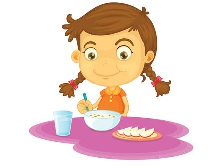 children eating fruit: Child illustration on a white background