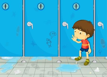 Illustratie van een jongen in een badkamer