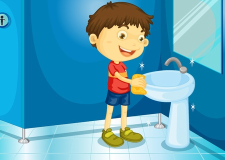 clean off: Illustration of a boy in a bathroom Illustration