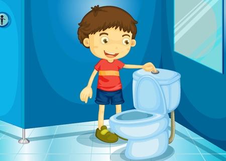 salle de bains: Illustration d'un gar�on dans une salle de bains