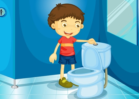 flushing: Illustration of a boy in a bathroom Illustration