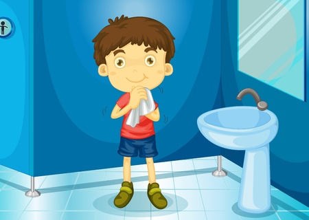 hygenic: Illustration of a boy in a bathroom Illustration
