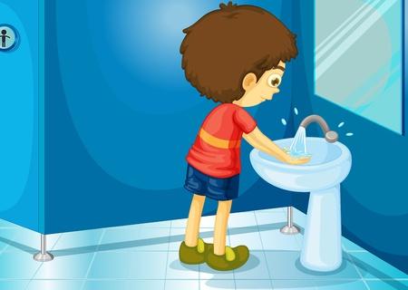 laver main: Illustration d'un gar�on dans une salle de bains
