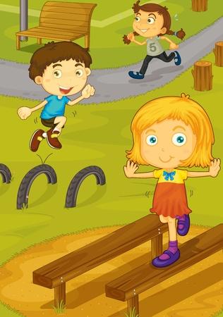 niños jugando en el parque: Ilustración de los niños jugando en el patio
