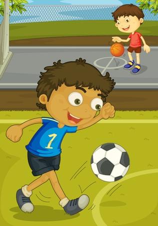 niños jugando caricatura: Ilustración de los niños jugando en el patio