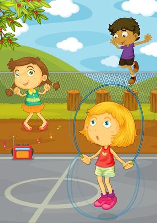 ricreazione: Illustrazione di bambini che giocano in cortile