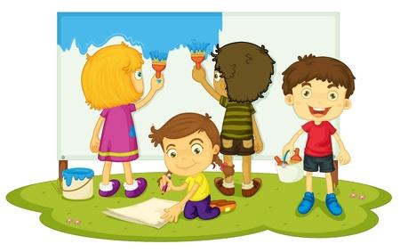 niños jugando caricatura: Ilustración de los niños a pintar juntos Vectores