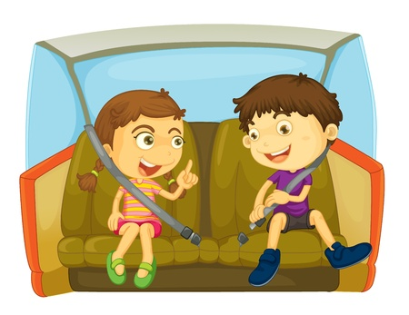 vehicle seat: cartoon of kids in a car