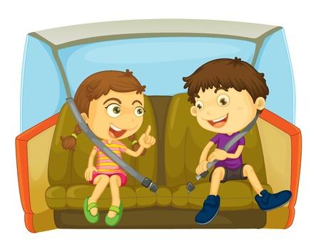 enfant banc: dessin anim� des enfants dans une voiture Illustration