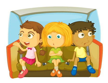 child safety: cartoon of kids in a car