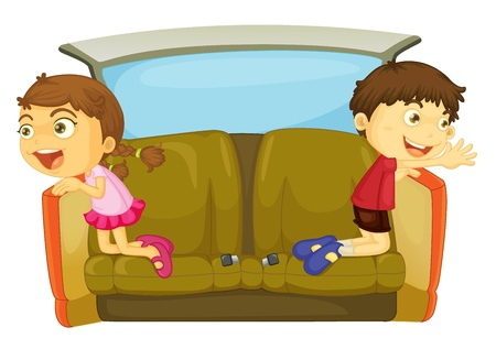 cartoon of kids in a car Stock Vector - 13131742
