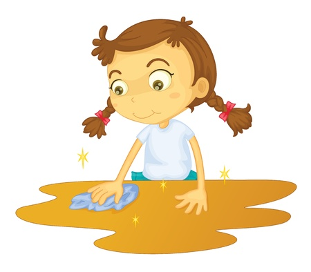 cleaning cloth: Girl cleaning a table cartoon