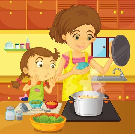 mere cuisine: Illustration d'aider au concept de la maison