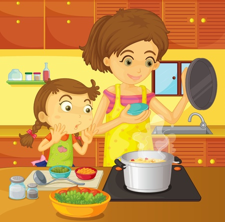 household tasks: Illustration of helping at home concept Illustration